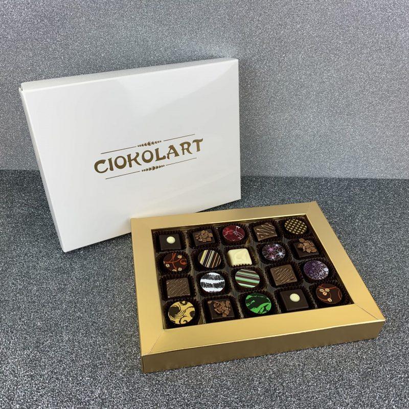 Scatola Presentazione Pearl White, 20 cioccolatini