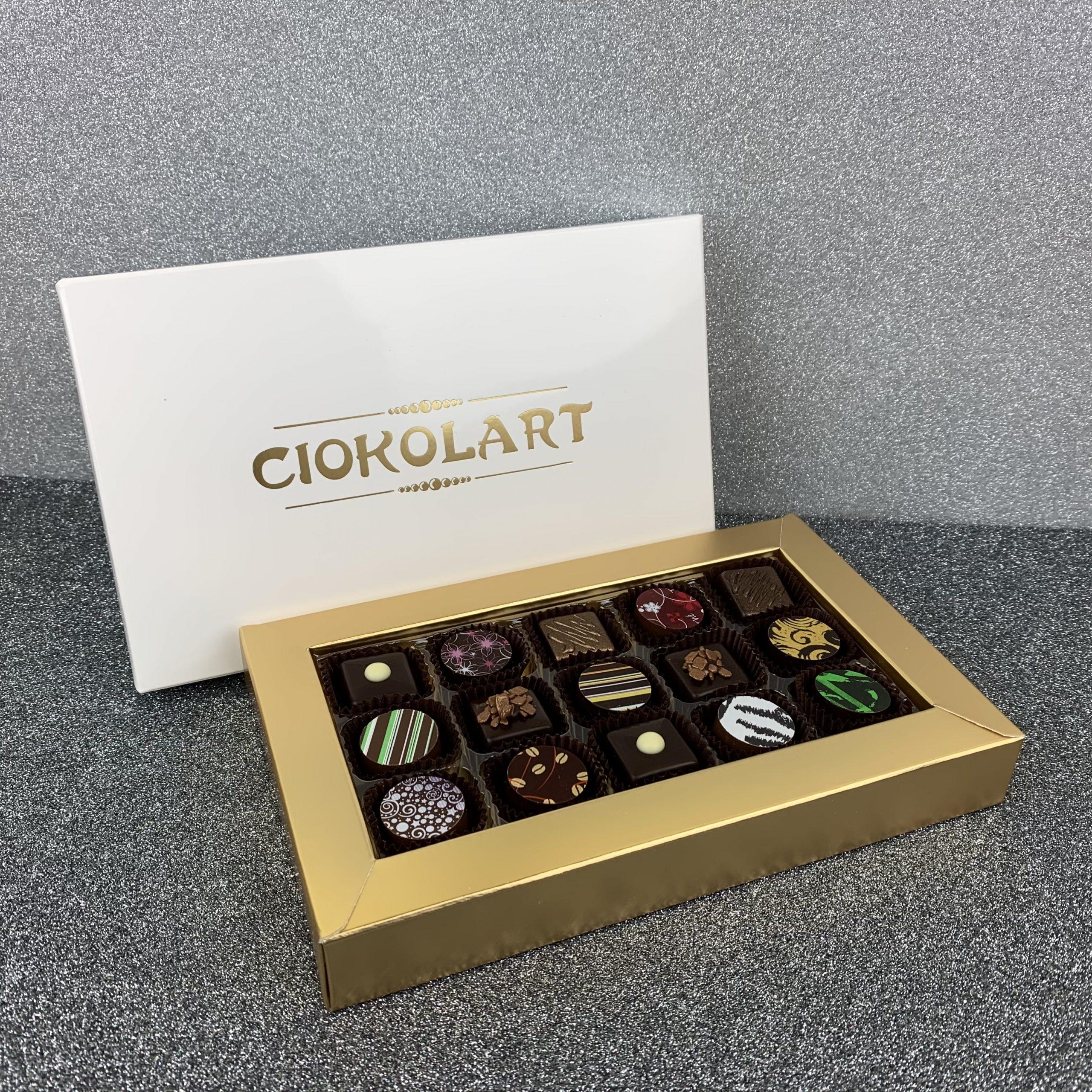 Scatola Presentazione Pearl White, 15 cioccolatini